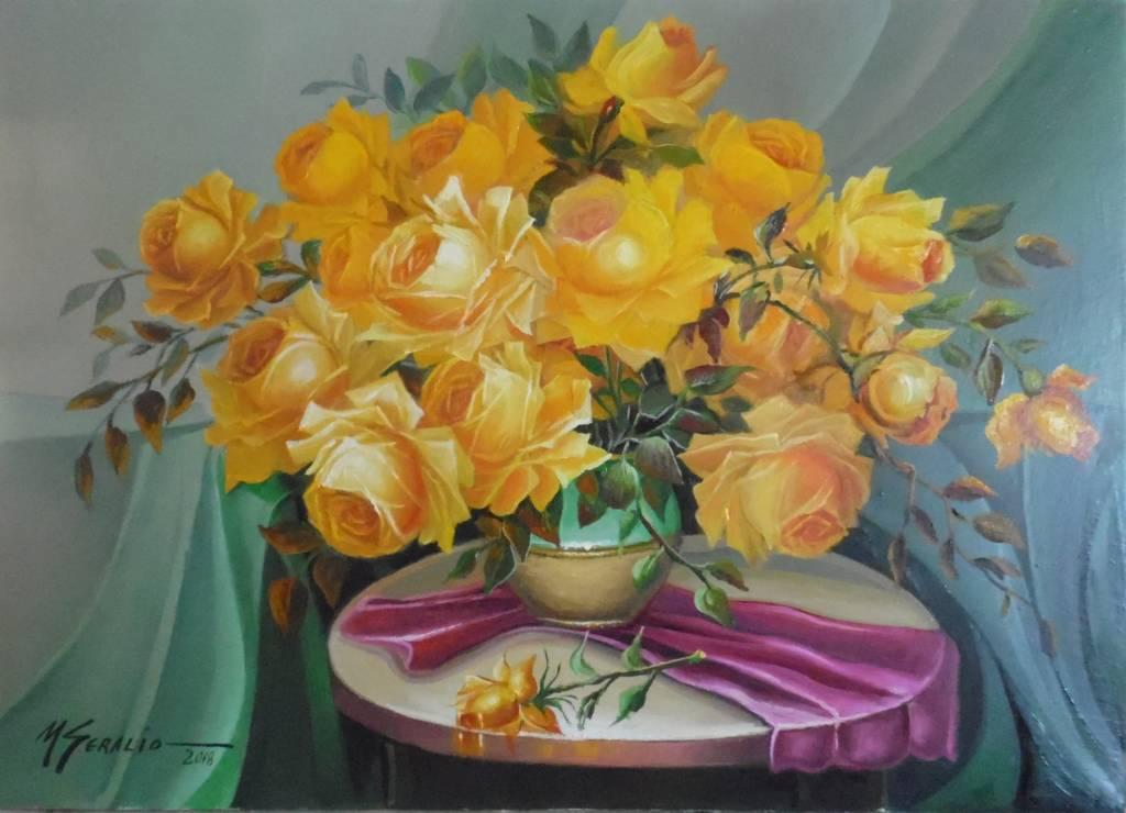 Poza trandafiri galbene  cu reflexe auri