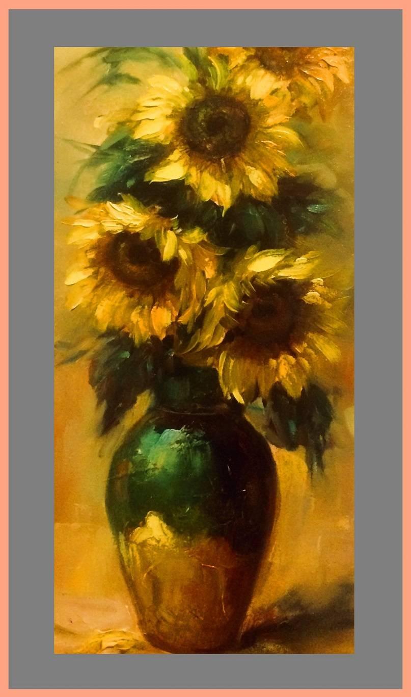 Poza vas ceramic cu floarea soarelui