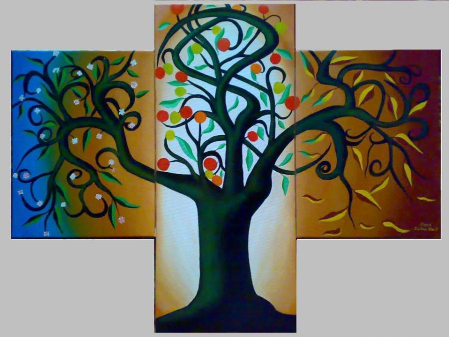 Picturi abstracte/ moderne Pomul vietii in culori