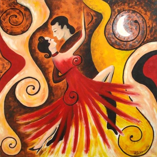 Picturi abstracte/ moderne Tango sub clar de luna