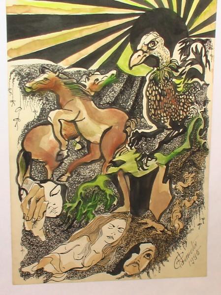 Picturi abstracte/ moderne Cai in amurg