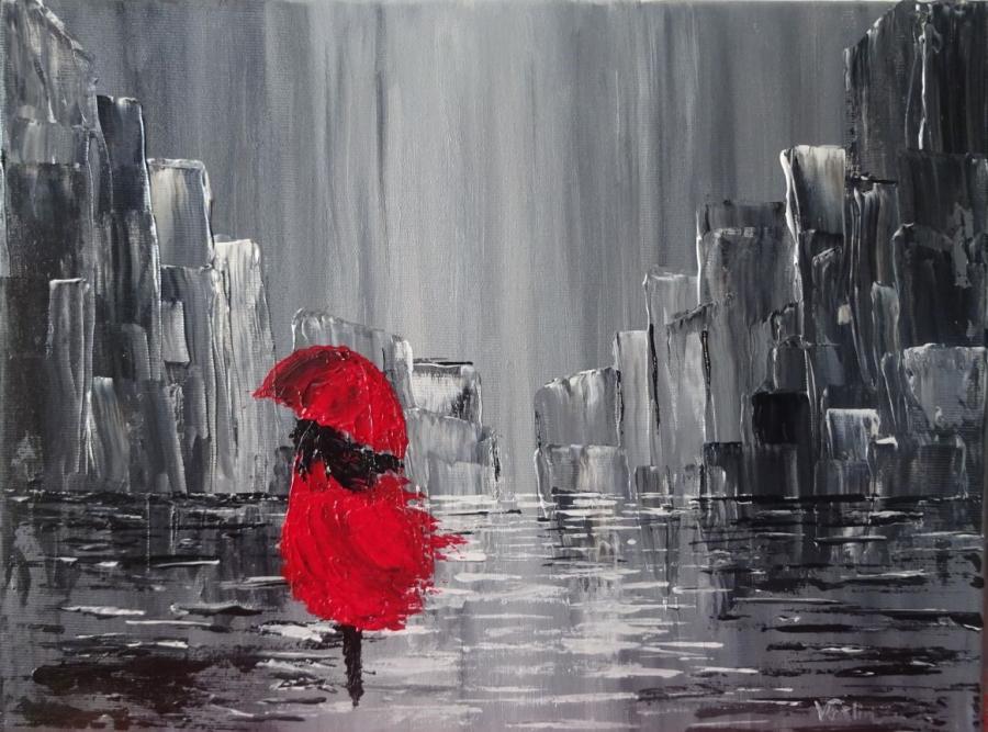 Picturi abstracte/ moderne fata in rosu