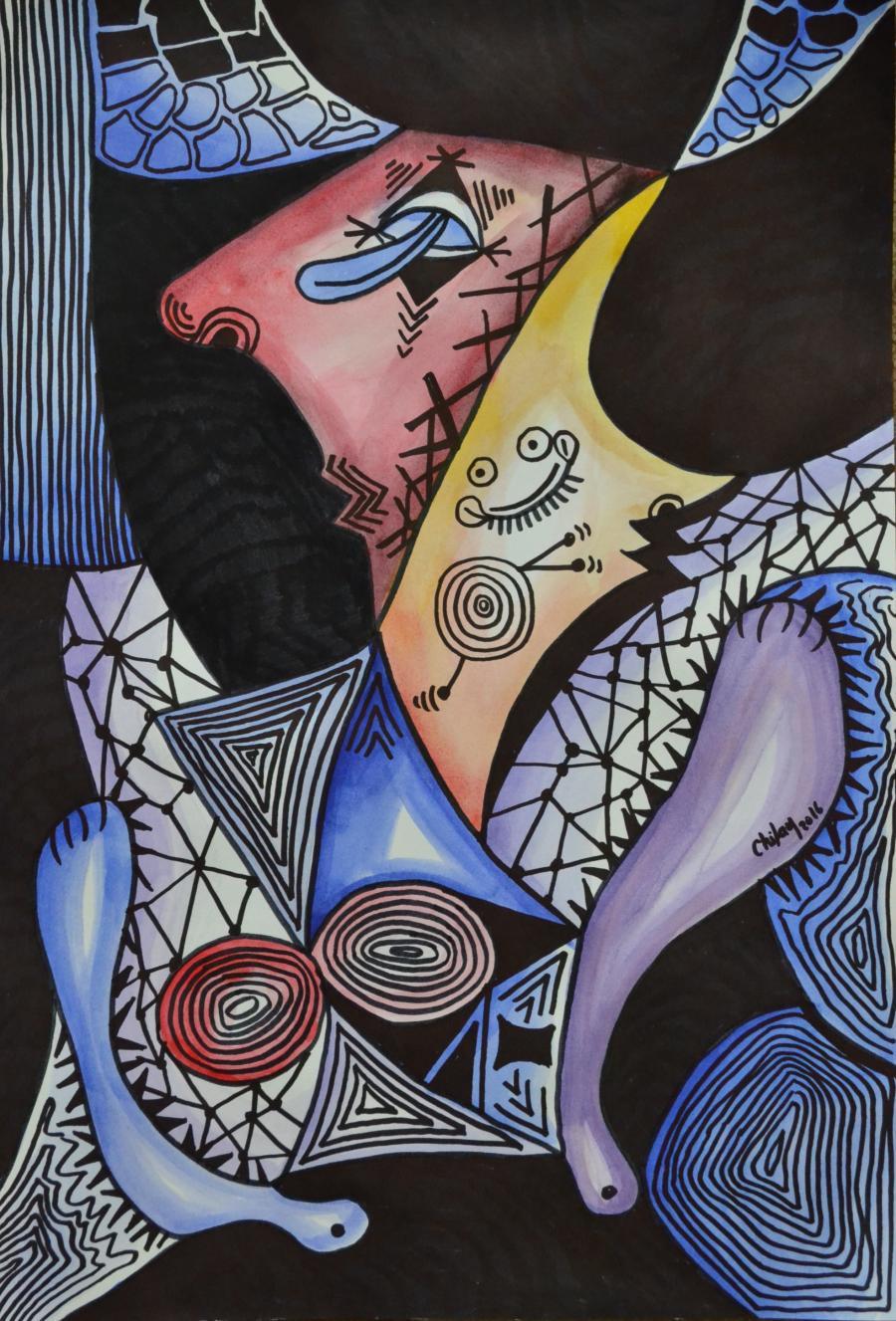Picturi abstracte/ moderne NUD CU PORTRETUL GALBEN