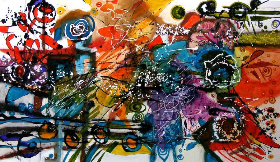 Picturi abstracte/ moderne Omul care aduce ploaia