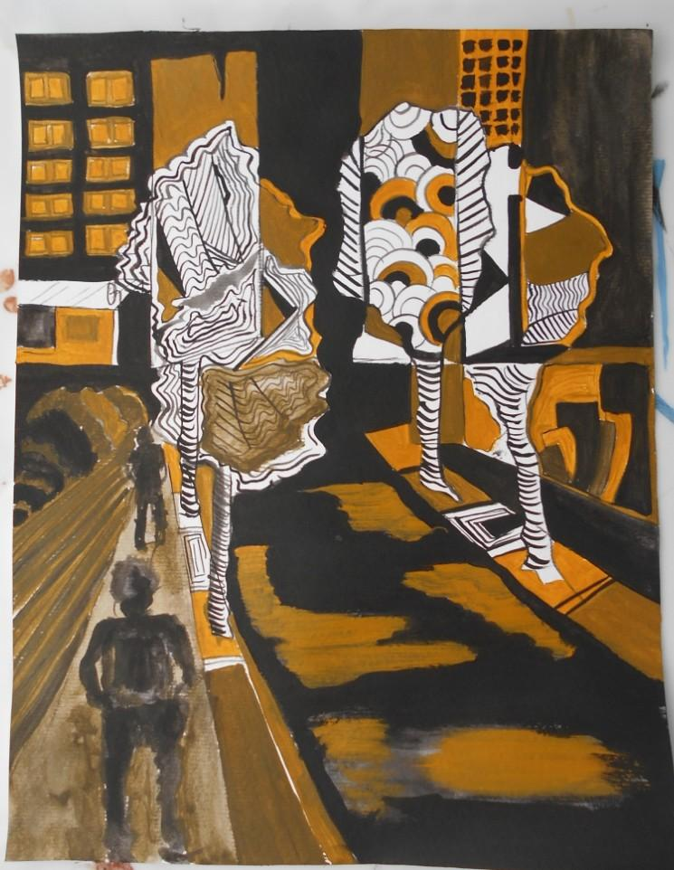 Picturi abstracte/ moderne Noaptea in Bucuresti