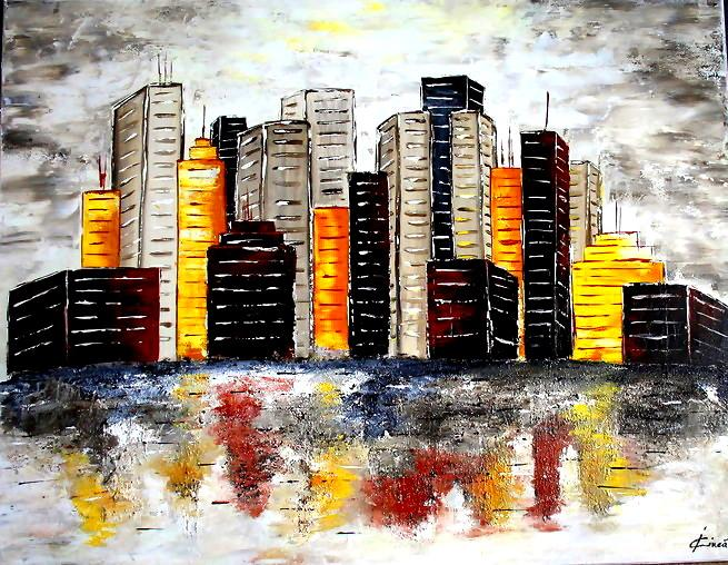 Picturi abstracte/ moderne Under the city spell