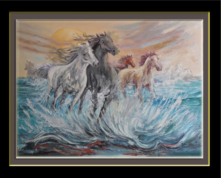 Picturi abstracte/ moderne cai in spuma marii