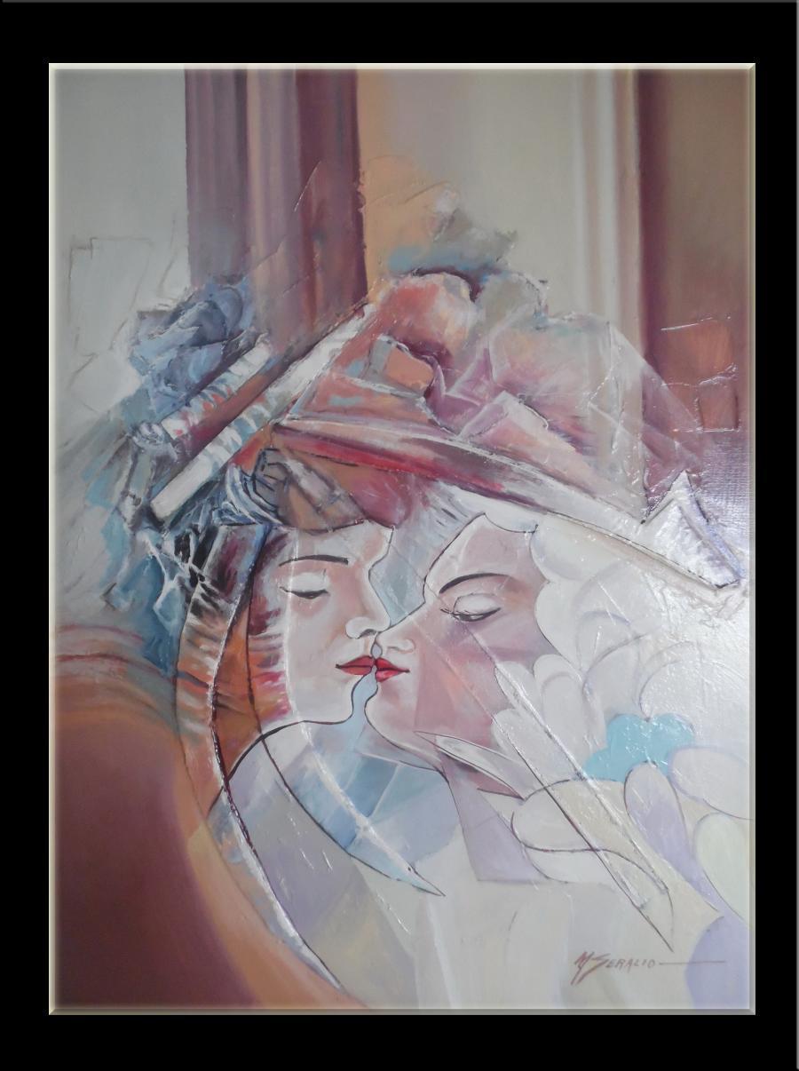 Picturi abstracte/ moderne destin inplinit  (sarutul fatal  2)