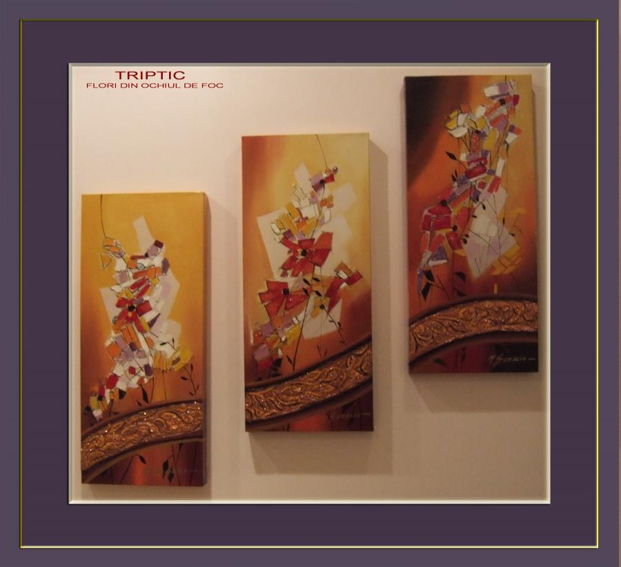 Picturi abstracte/ moderne flori din ochiul de foc   triptic