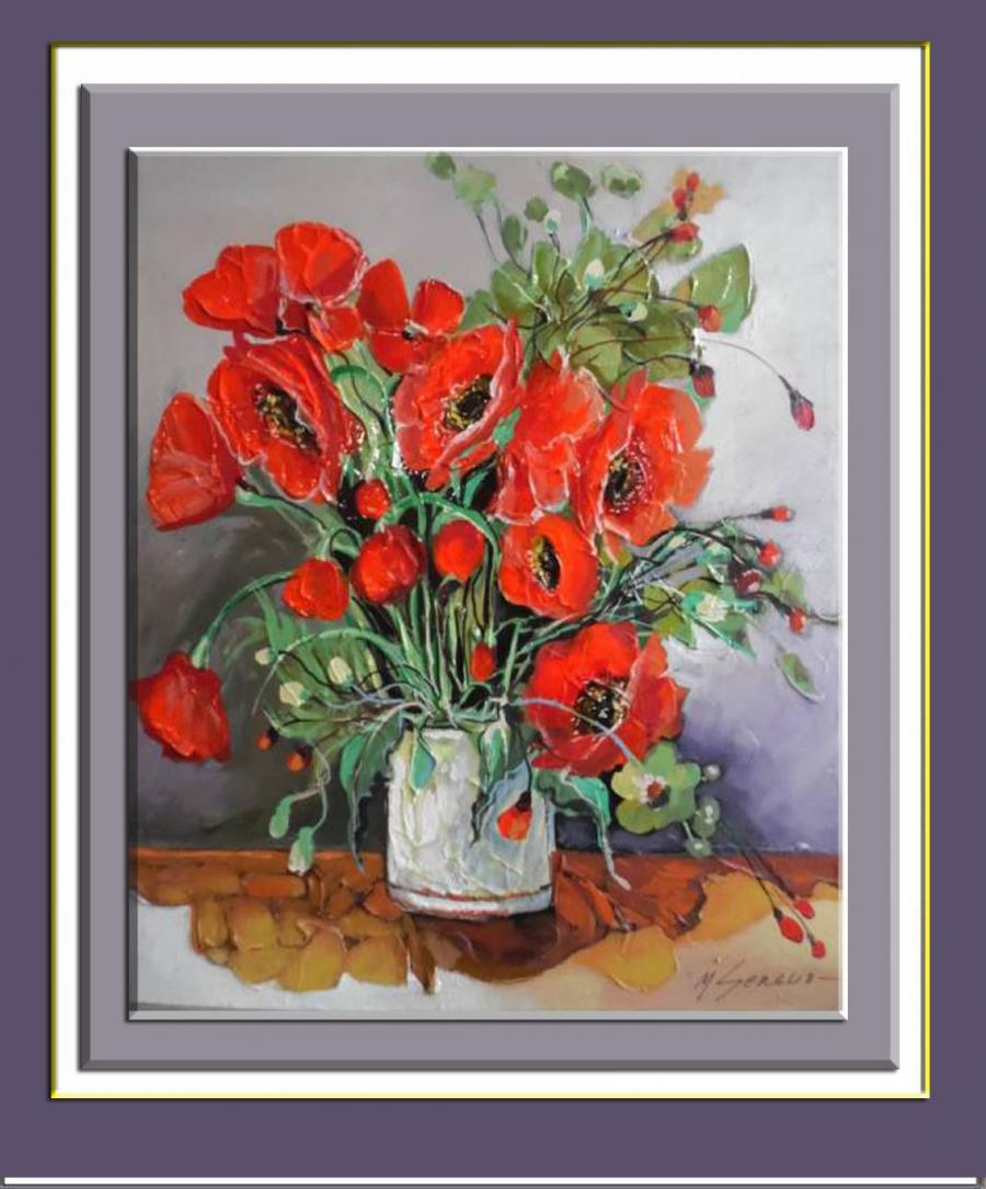Picturi abstracte/ moderne maci cu roua de cristal b22