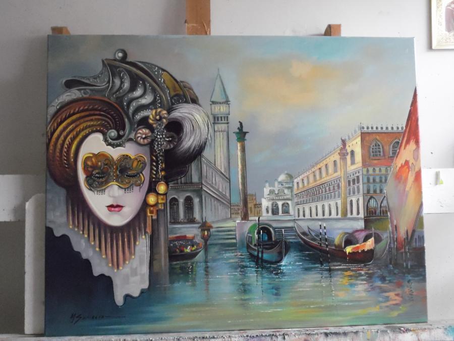 Picturi abstracte/ moderne masca venetiana varianta 3