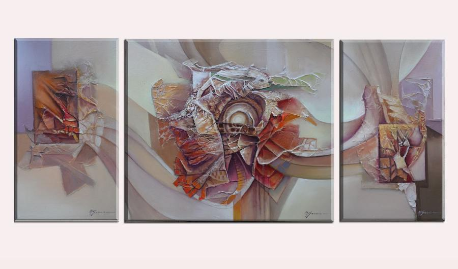 Picturi abstracte/ moderne supernova --triptik  abstract