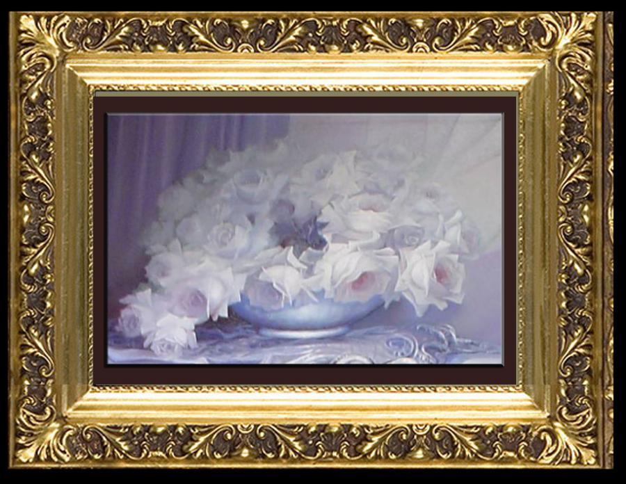 Picturi abstracte/ moderne trandafiri albi in roua diminetii-11
