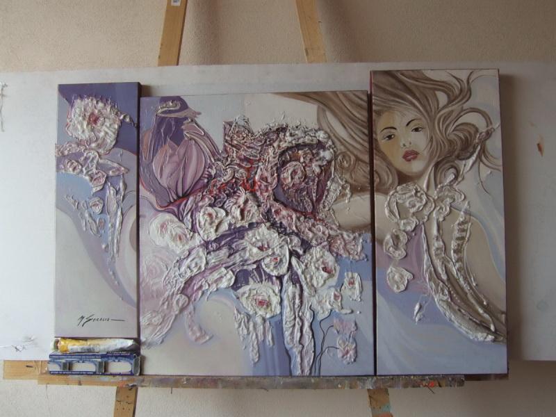Picturi cu flori triptic   abstract  k01