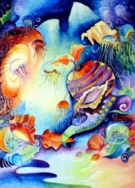 Picturi abstracte/ moderne La tronul meduzelor