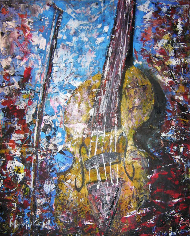 Picturi abstracte/ moderne Vioara galbena
