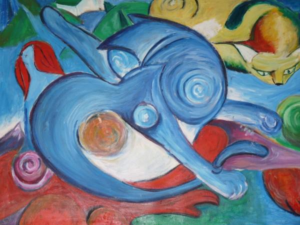 Picturi abstracte/ moderne Cele doua pisici