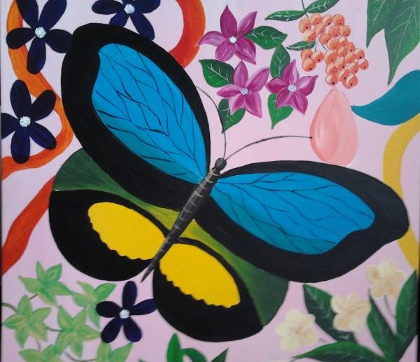 Picturi abstracte/ moderne Fluture si flori 4