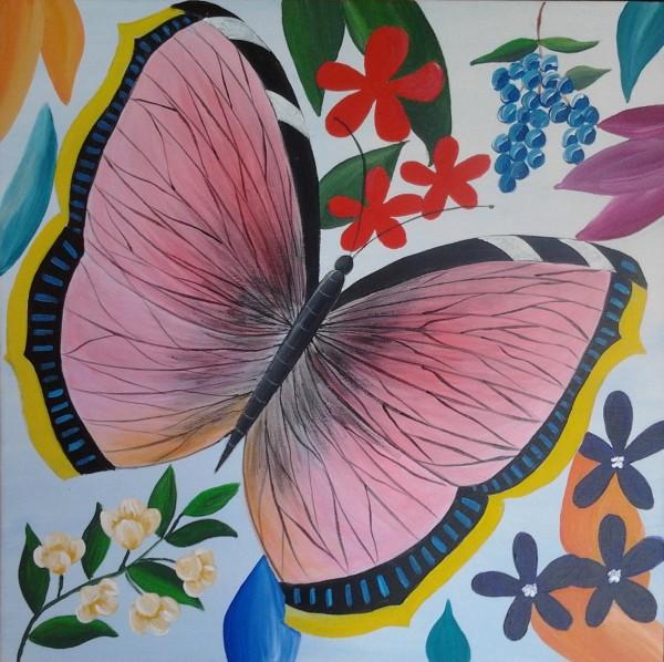 Picturi abstracte/ moderne Fluture si flori 9