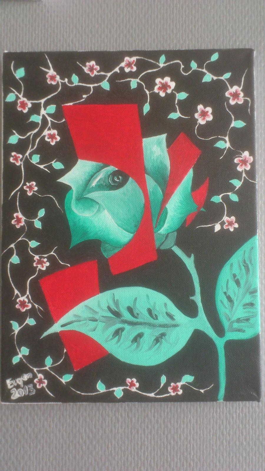 Picturi abstracte/ moderne trandafirul in spatiu!