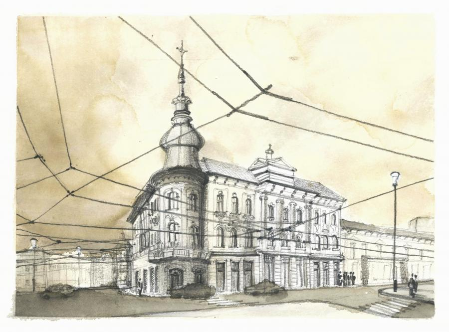 Picturi acuarela Cluj in cafea