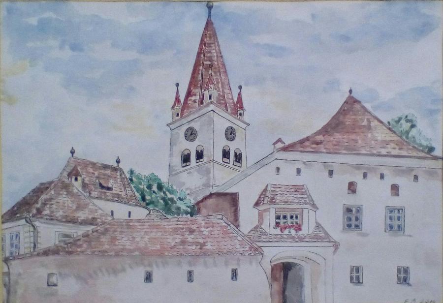 Picturi acuarela Un turn cu ..ceas