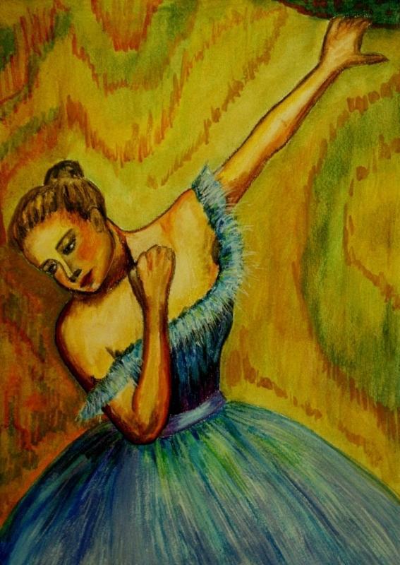 Picturi acuarela Balerina in asteptare