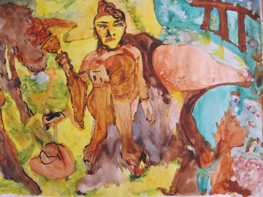 Picturi acuarela Saman cu camila