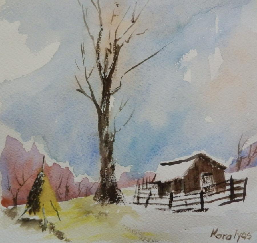 Picturi acuarela Peisaj de iarna