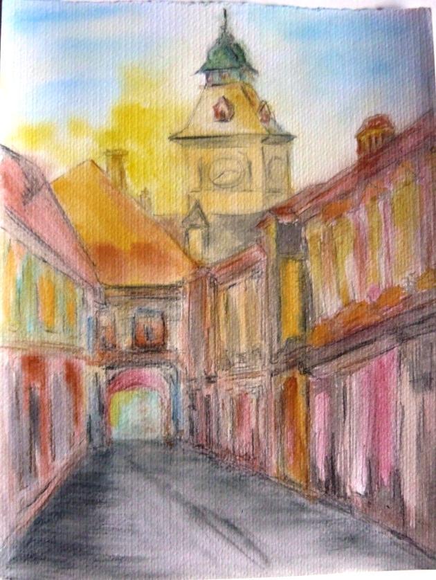 Picturi acuarela Toamna in Brasov