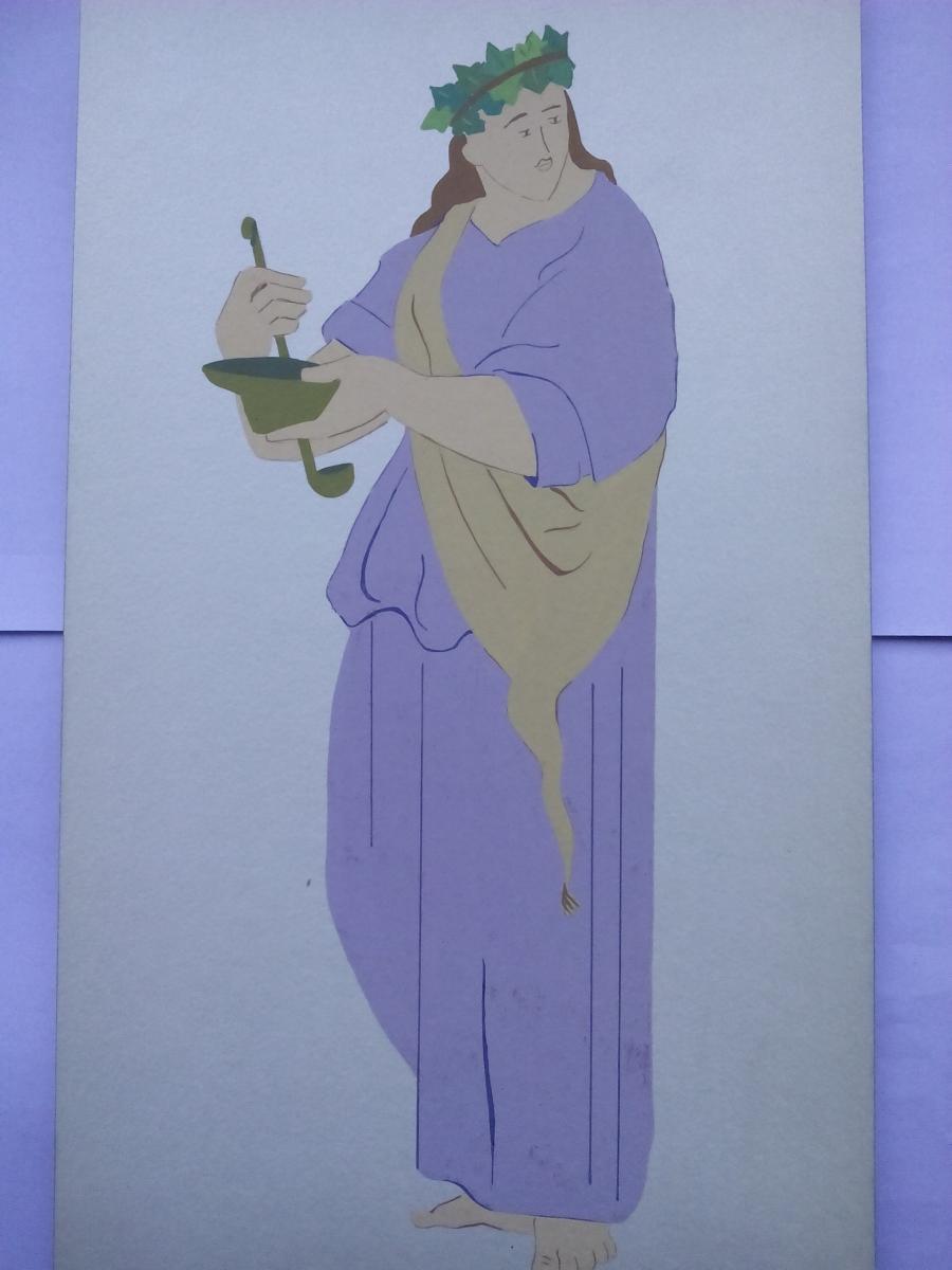 Picturi acuarela Costume antice 3 Grecia bachanta