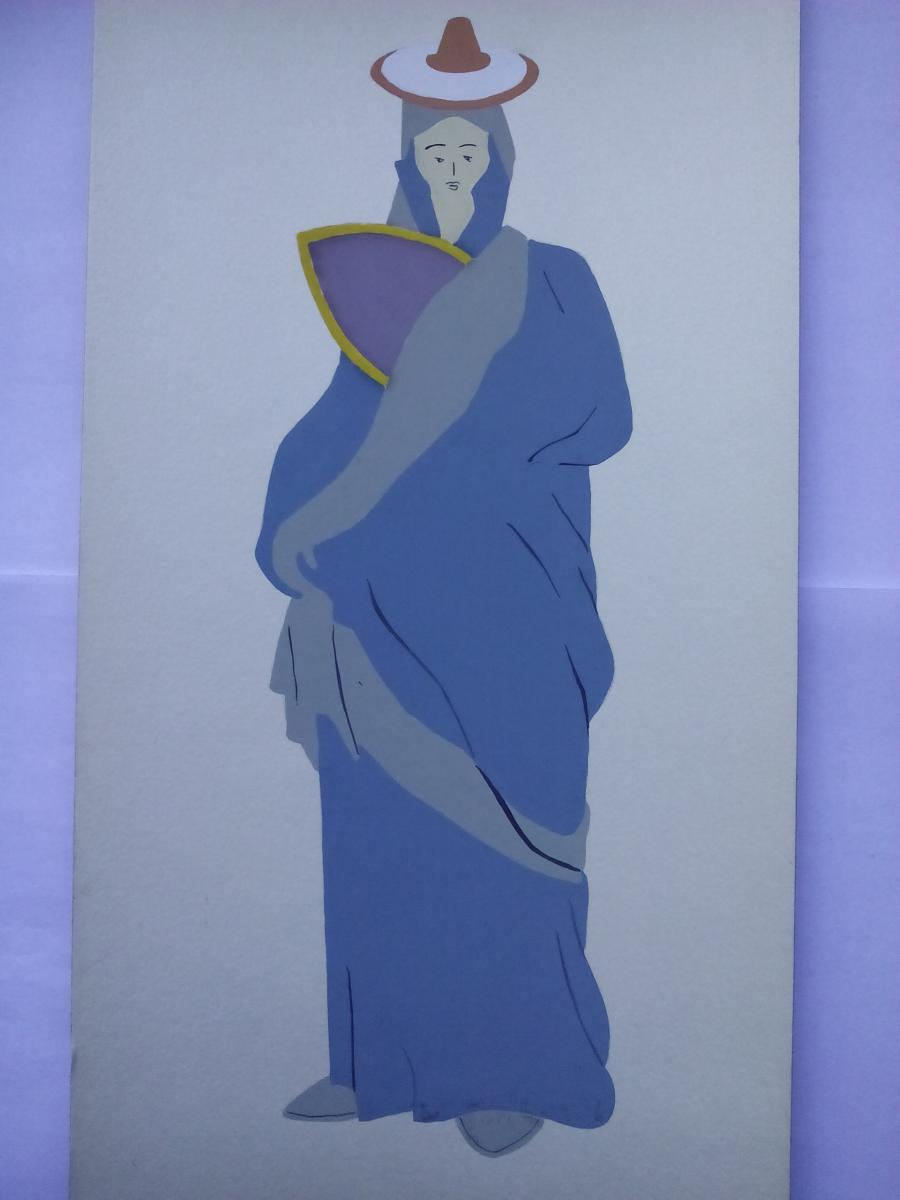 Picturi acuarela Costume antice grecia  9 , anii 70
