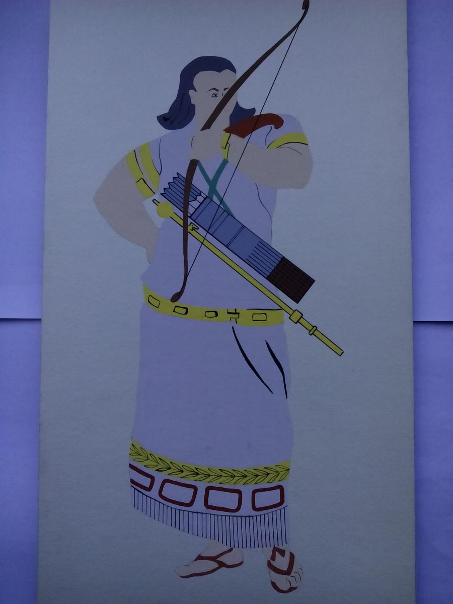 Picturi acuarela The Assyrians Warrior