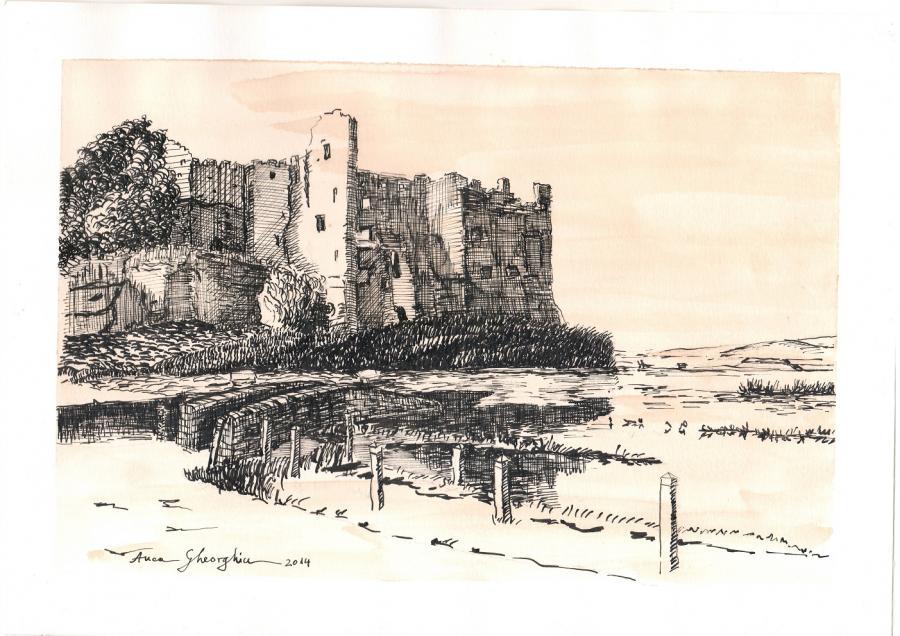 Picturi alb negru Peisaj cu ruinele unui castel