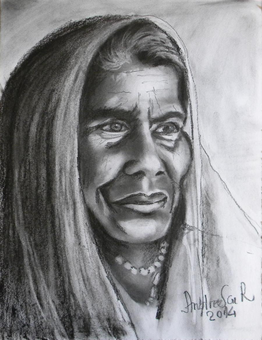 Picturi alb negru BATRANA INDIANCA