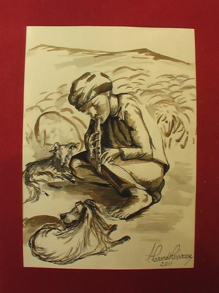 Picturi alb negru Ciobanas cu fluier