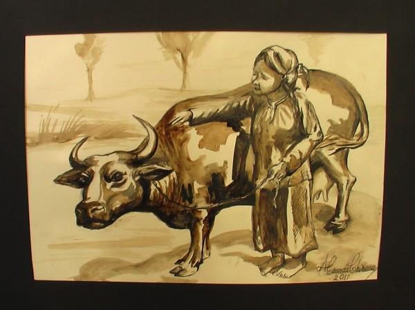 Picturi alb negru Fata si bivolita