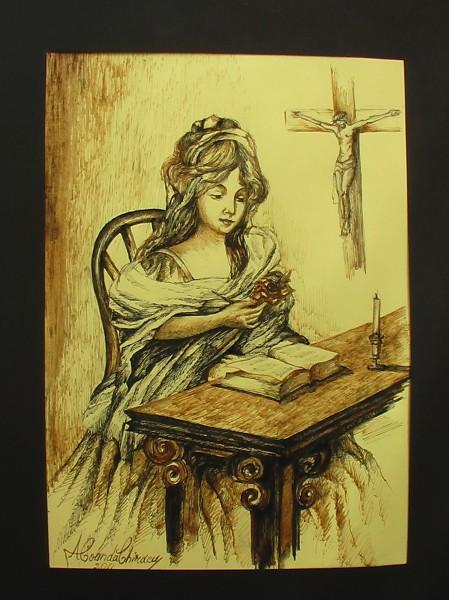 Picturi alb negru Femeia si biblia