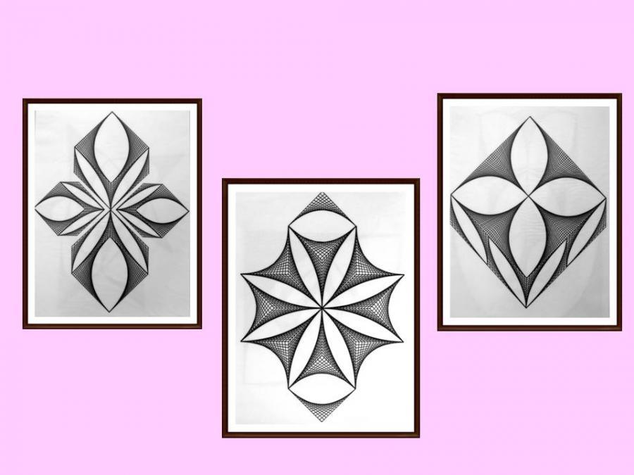 Picturi alb negru setul 5 - 3 tablouri originale, motiv geometric