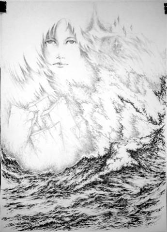 Picturi alb negru Eminescu-iubire si luceafar