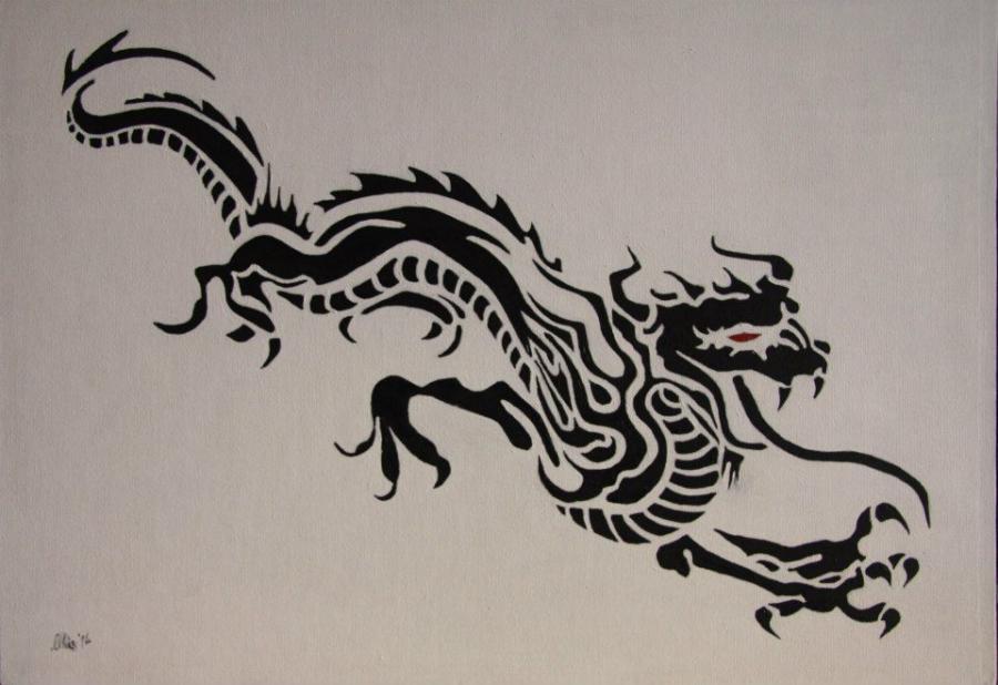 Picturi alb negru Dragonul negru