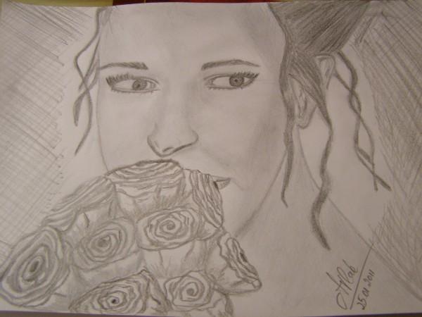 Picturi alb negru Fata cu trandafiri
