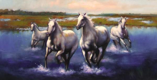 Picturi cu animale Cai in delta
