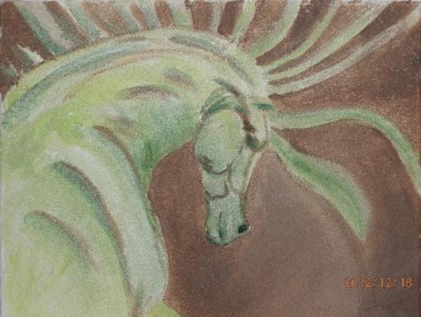 Picturi cu animale Calul verde
