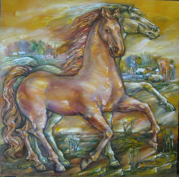 Picturi cu animale Cai in galop 2