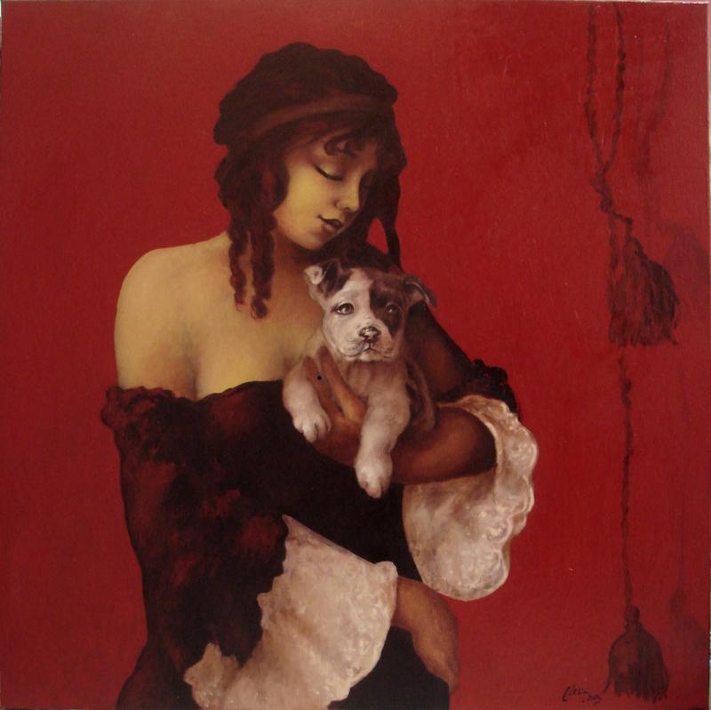 Picturi cu animale doamna cu catelul