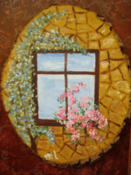 Picturi cu animale Flori la fereastra