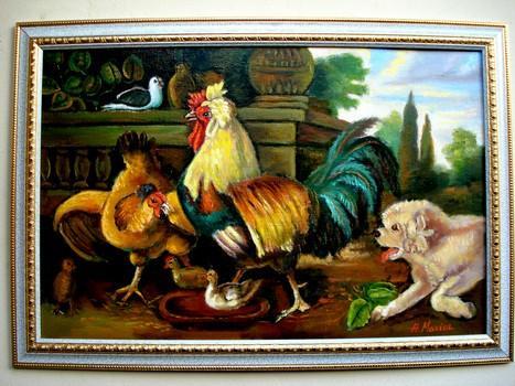 Picturi cu animale Tablou Cocosul cu gaina 2