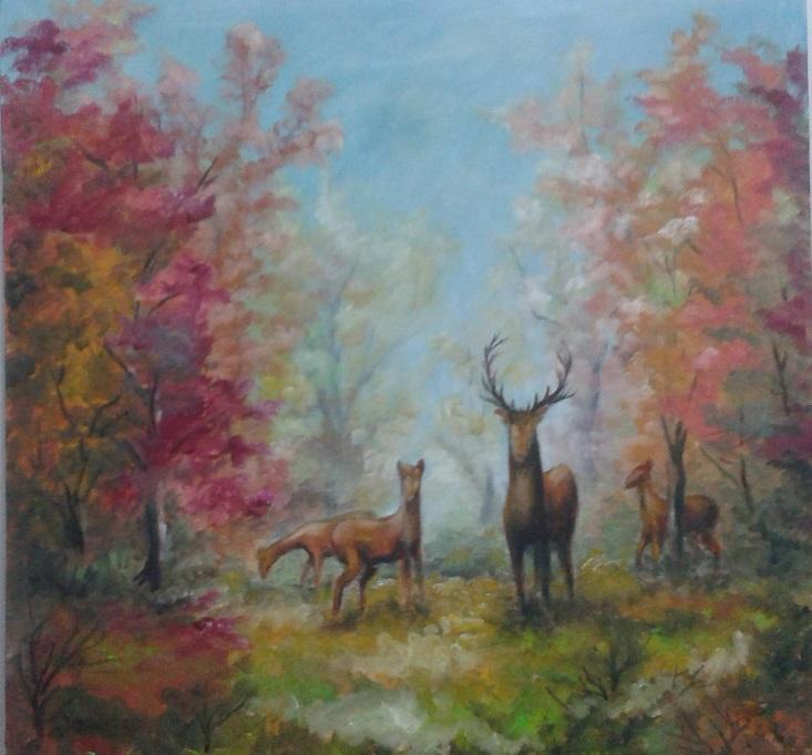 Picturi cu animale Cerb in padure toamna