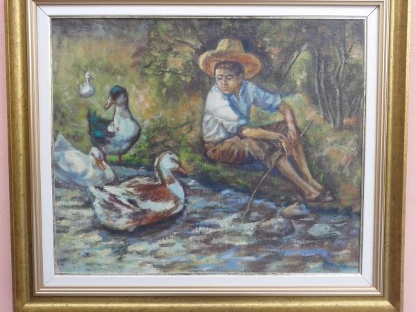 Picturi cu animale Baiat cu ratele la rau